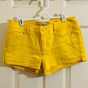 Bright yellow Juniors Jean Shorts
